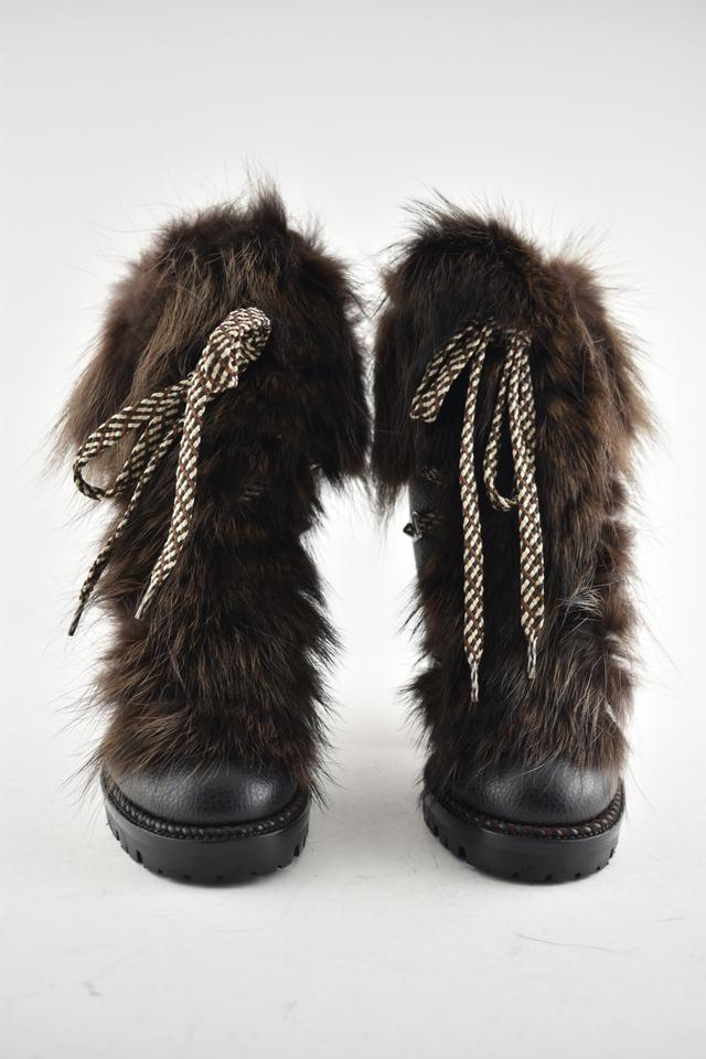 603d5f0dee67 Christian Louboutin Black Fanny 70 Brown Fur Leather Lace Up Hiking  Stiletto Heel Combat Boots Booties Size EU 34 (Approx. US 4) Regular (M