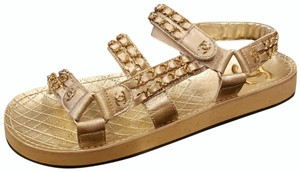 Chanel Chain Metallic Ankle Strap Velcro Gold Sandals