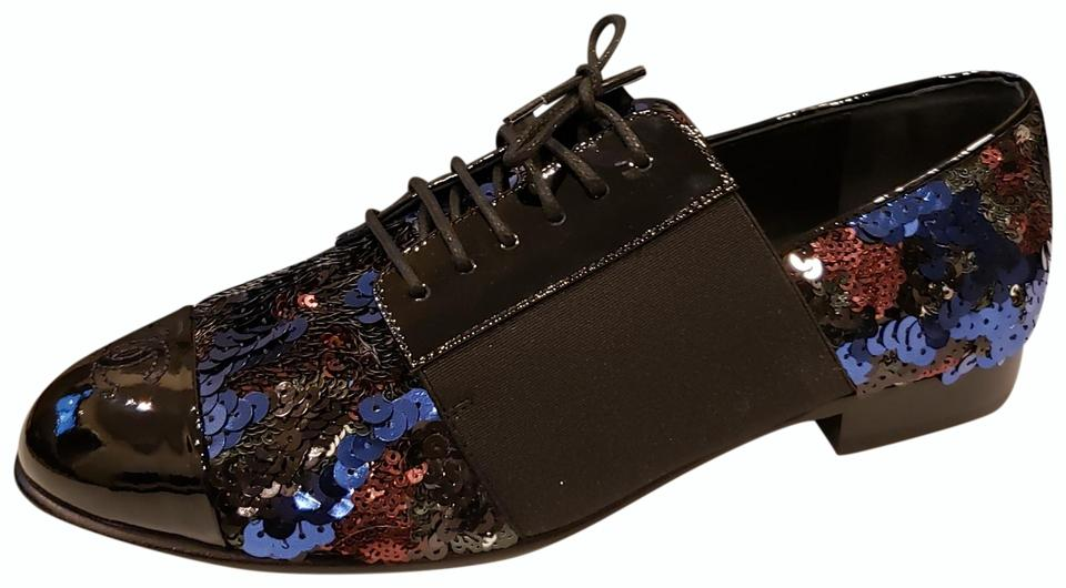 4cab0dbe8f Chanel Blue/Black 18b Sequin Leather Lace Up Patent Cap Toe Loafers  Moccasins Flats