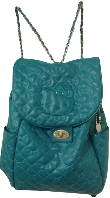 Item - Chanel Style Green Turquoise Faux Leather Backpack