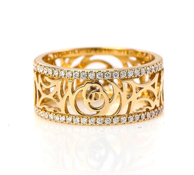 Item - 18k Gold Camelia Ajoure Rose and Diamonds Ring