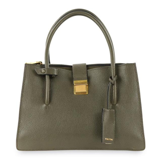 Item - Madras Military Green Leather Tote
