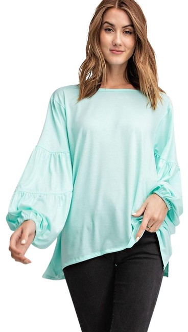 Item - Sky Blue Puffy Sleeves Blouse Size 12 (L)
