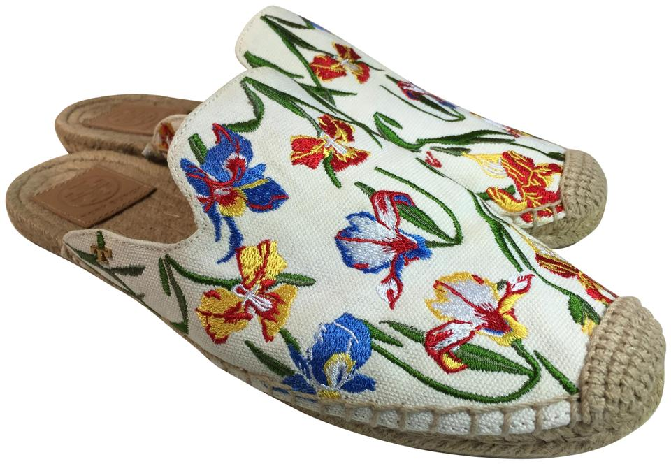 71ad16ba1cc934 Tory Burch White  Multi Embroidered Max Espadrille Women Mules Slides