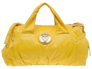 Gucci Leather Nylon Satchel in Yellow