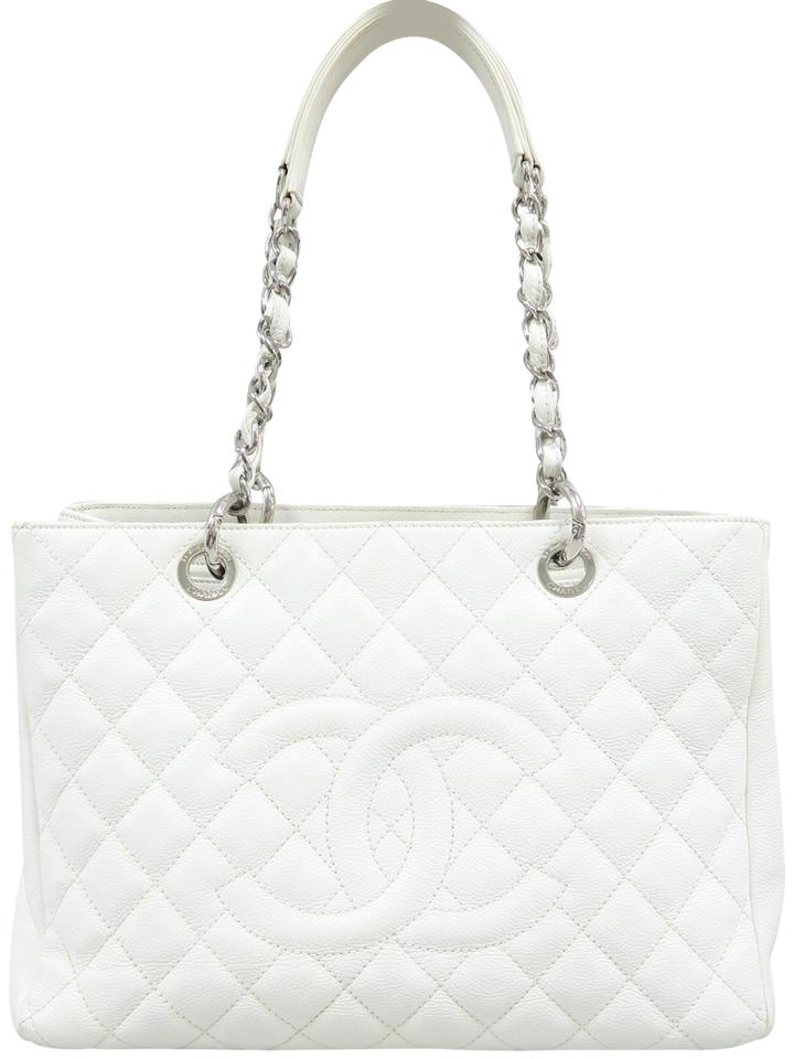 53a2618945c Chanel Shopping Tote Grand (Gst) White Caviar Shoulder Bag