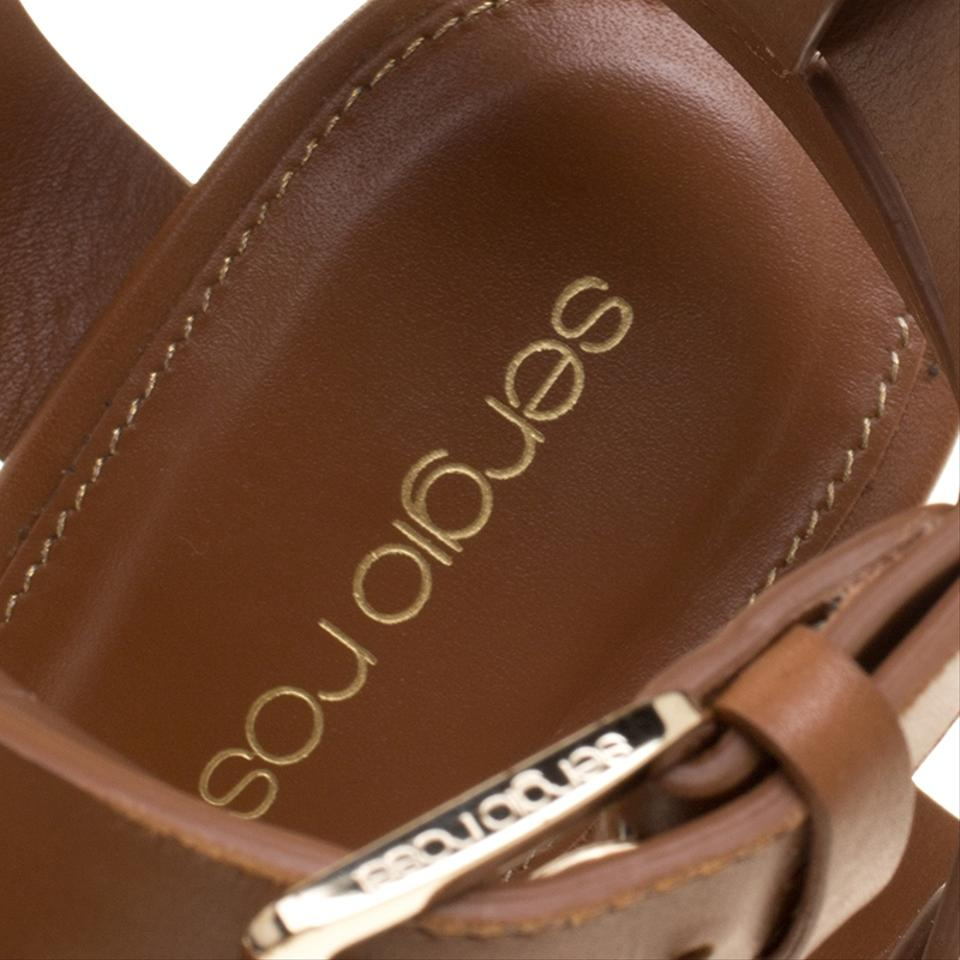 acacb1db487e Sergio Rossi Brown Leather Ankle Wrap Block Heel Platform Sandals ...
