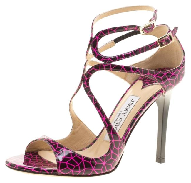 Item - Pink And Black Print Patent Lance Strappy Sandals Size EU 35.5 (Approx. US 5.5) Regular (M, B)