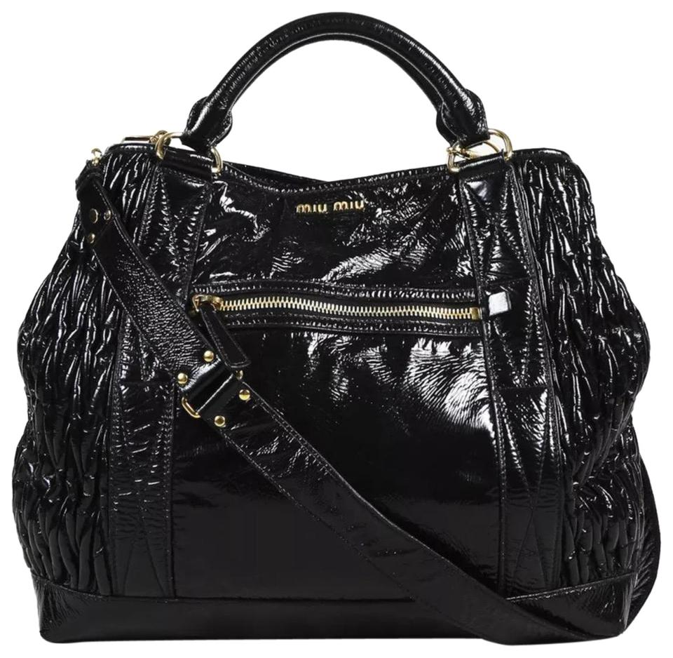 edbcb88f74e Miu Miu Gold Hardware Partly Quilted Satchel in Black ...