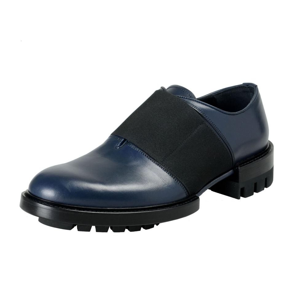 f76bece837c Versace Blue Men s Navy Leather Loafers Slip On Flats Size US 7.5 ...