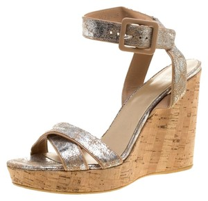Stuart Weitzman Suede Wedge Metallic Sandals