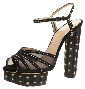 Charlotte Olympia Suede Crystal Ankle Studded Black Sandals