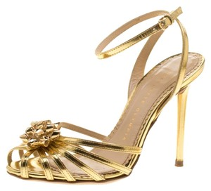Charlotte Olympia Leather Ankle Strap Gold Sandals