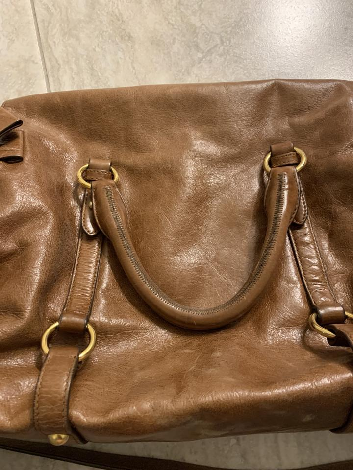 5b1aaf0d7e9e Miu Miu Vitello Lux Bow Brown Leather Cross Body Bag - Tradesy