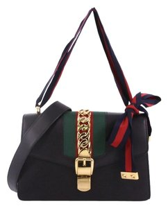 f970dde8a16b Added to Shopping Bag. Gucci Leather Shoulder Bag. Gucci Sylvie Small Black  ...