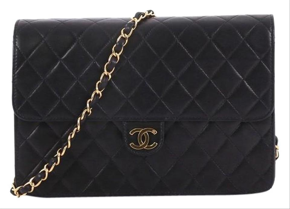 Chanel Clutch Vintage with Chain Quilted Medium Black Leather Shoulder Bag b09e25a05deba