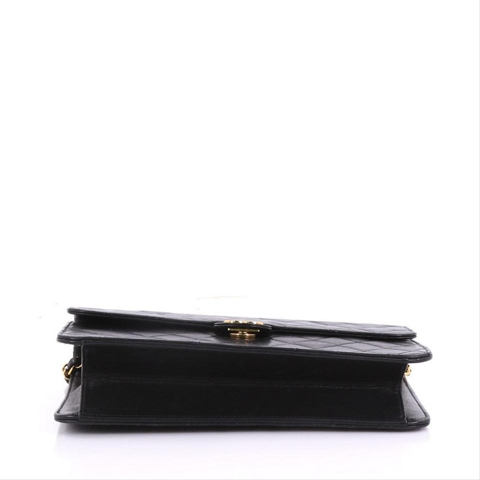 30f7957b414 Chanel Clutch Vintage with Chain Quilted Medium Black Leather Shoulder Bag  - Tradesy