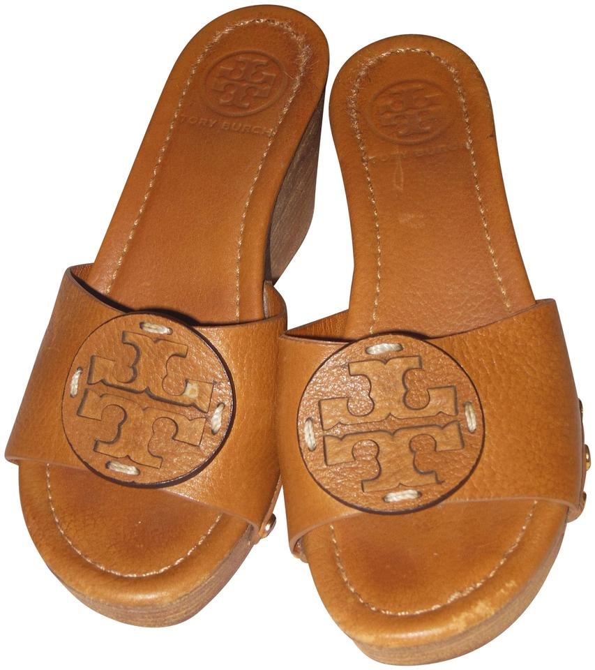 26e0357a4bb4f8 Tory Burch Tan Leather Logo Slip On Sandals Size US 5 Regular (M
