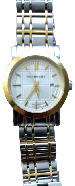 Item - Silver with Gold Trims Check Two Tone Watch