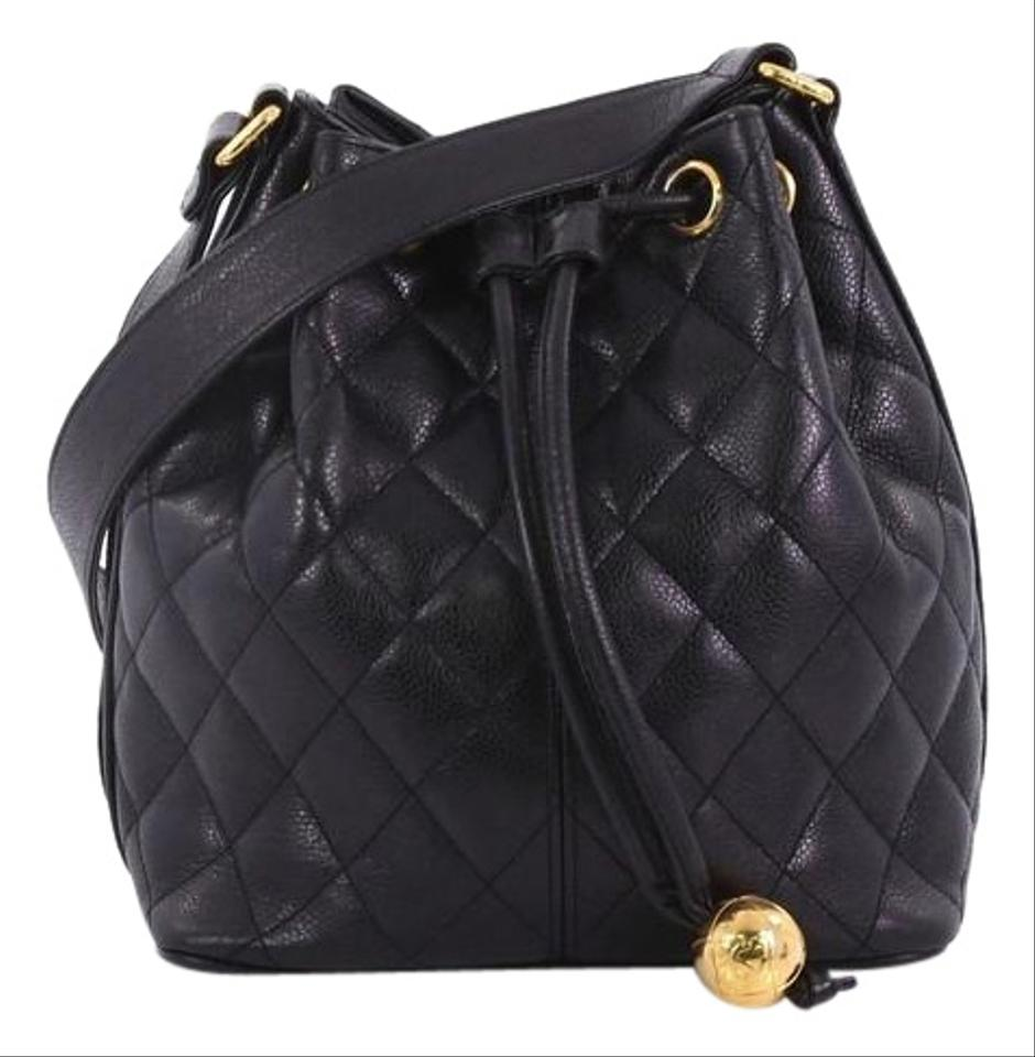 Chanel Vintage Bucket Quilted Caviar Small Black Leather Shoulder ... 69e79fe858