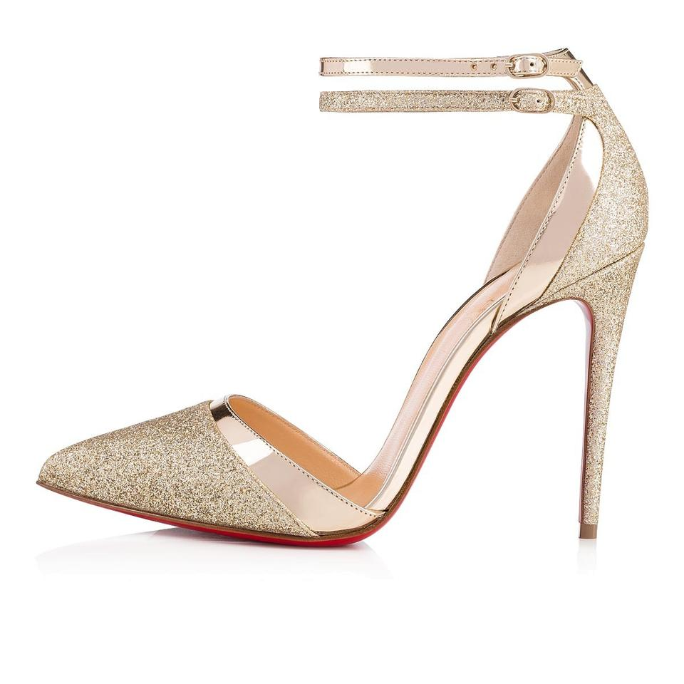 8e78210ab9a Christian Louboutin Gold Uptown Double 100 Glitter Ankle Strap Sandal  Stiletto Heel Pumps Size EU 37 (Approx. US 7) Regular (M, B)