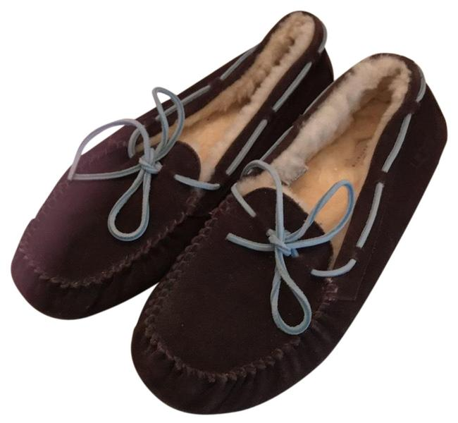 Item - Brown with Blue Trim Uggs Ladies Slippers Flats Size US 11 Regular (M, B)