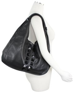 Ted Rossi Studded Pebble Leather Hobo Bag