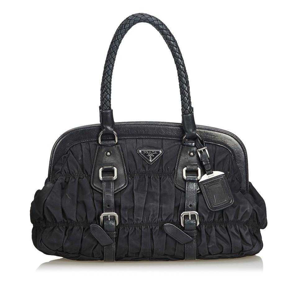 f5691a7e2f92 Prada Gathered Handbag Black Nylon Baguette - Tradesy