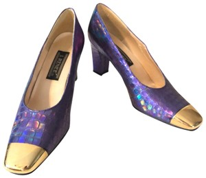 9243744fa867 J. Reneé Square Toe Chunky Iridescent Costume Vintage Purple   Gold Pumps