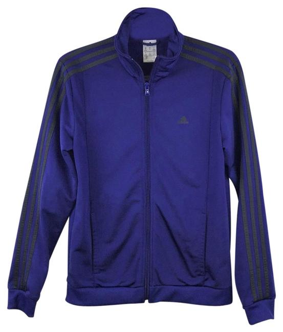 Item - Blue/Purple/Black Striped Sleeves Round Collar Zip-up Track Activewear Outerwear Size 6 (S)