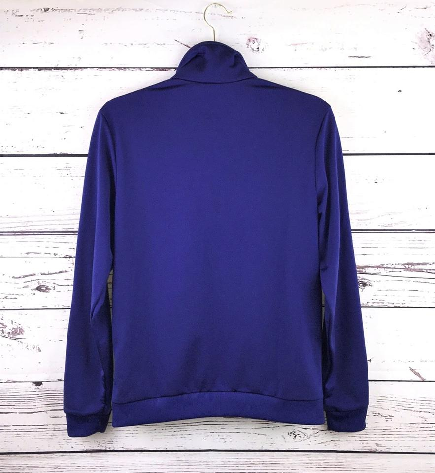 2aff518a52 adidas Blue/Purple/Black Striped Sleeves Round Collar Zip-up Track ...