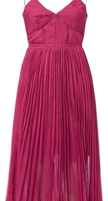 Preload https://img-static.tradesy.com/item/24736751/self-portrait-magenta-pink-pleated-great-for-valentine-s-day-mid-length-cocktail-dress-size-4-s-0-1-650-650.jpg