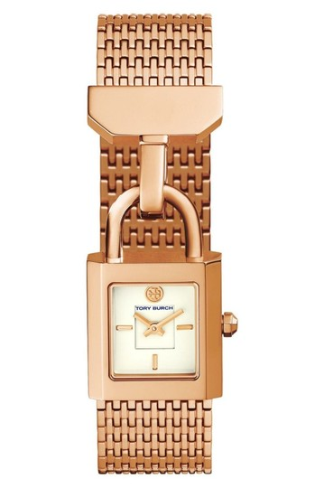 Preload https://img-static.tradesy.com/item/24736850/tory-burch-rose-gold-stainless-steel-bracelet-ivory-dial-padlock-charm-surrey-tbw7102-watch-0-0-540-540.jpg