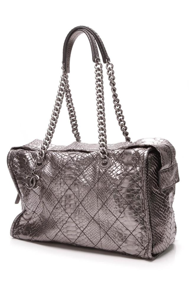 9be760019280 Chanel Camera - Metallic Gray Python Skin Leather Shoulder Bag - Tradesy