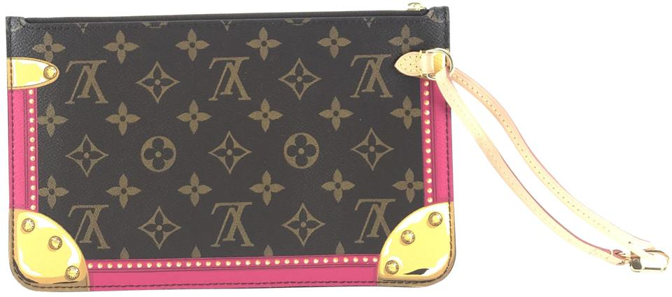 77f5eff78c5 Louis Vuitton Neverfull Pochette #26789 Extremely Rare Monogram with  Multicolor Summer Trunks Limited Edition Pattern Coated Canvas Clutch