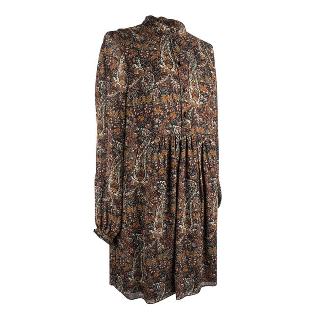 Item - Brown Rust Gold Black White Tunic / Floral Paisley Print 38 / Short Casual Dress Size 6 (S)