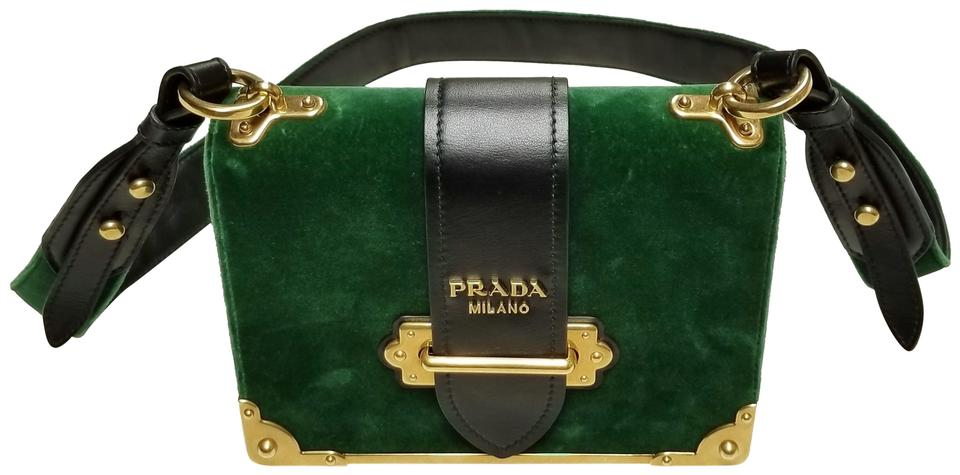 53215b2f9de4be Prada Cahier Black Leather Trim Green Velvet Shoulder Bag - Tradesy