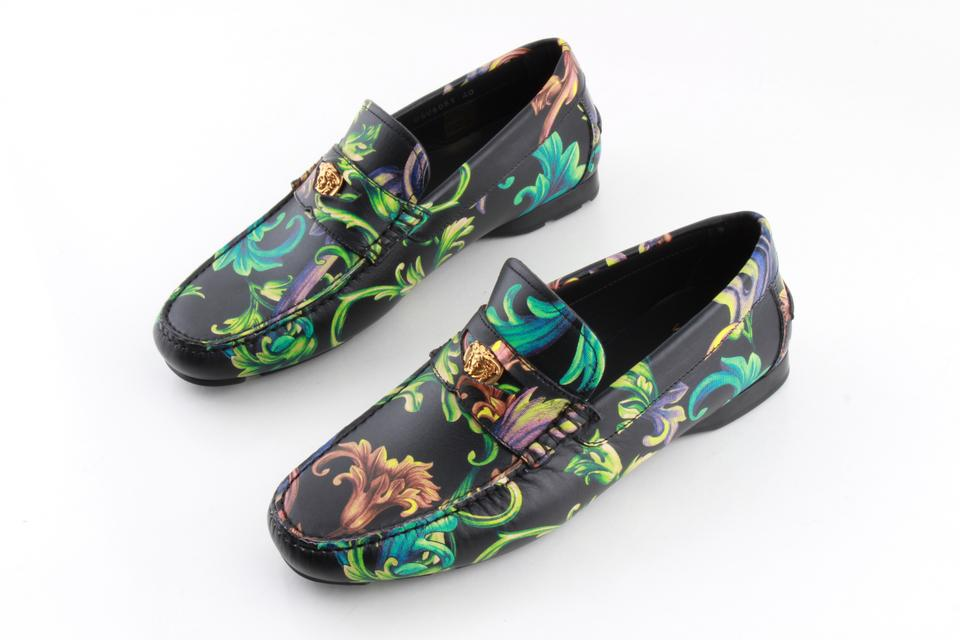 1dd63128b98 Versace Multi Color Acid Baroque Print Leather Loafers Shoes Image 0 ...