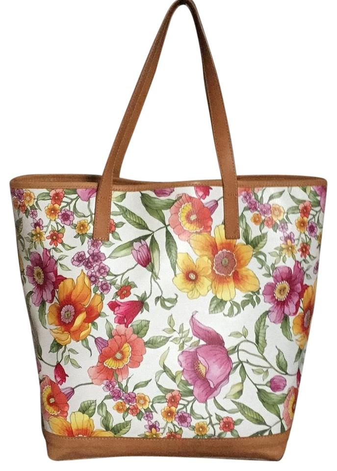 9b8a0908f8 Gianni Notaro Made In Italy Multi Spring Florals Leather Tote - Tradesy