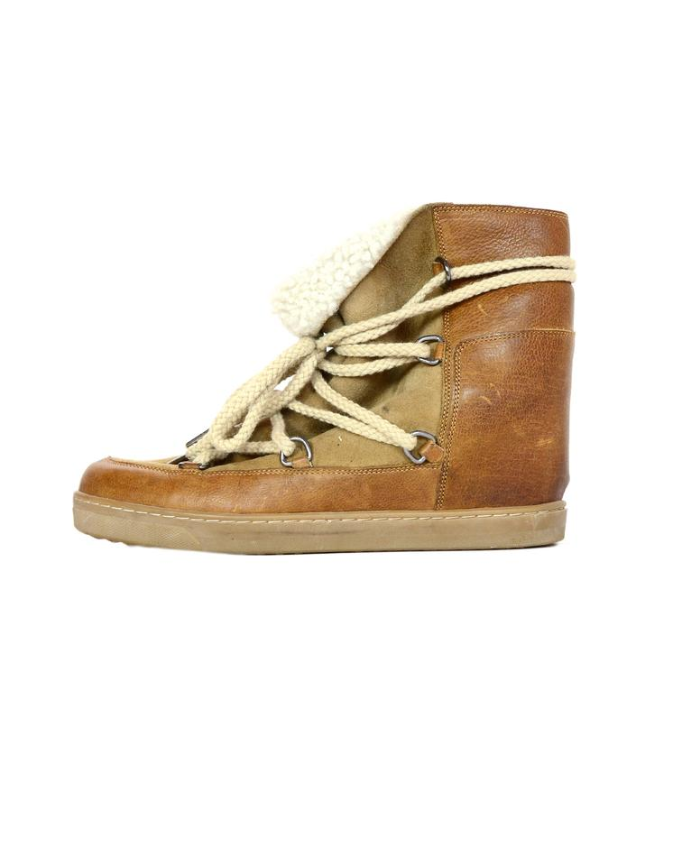 aee29a01401 Isabel Marant Camel Shearling Nowles Lace Up Hidden Boots Wedges ...