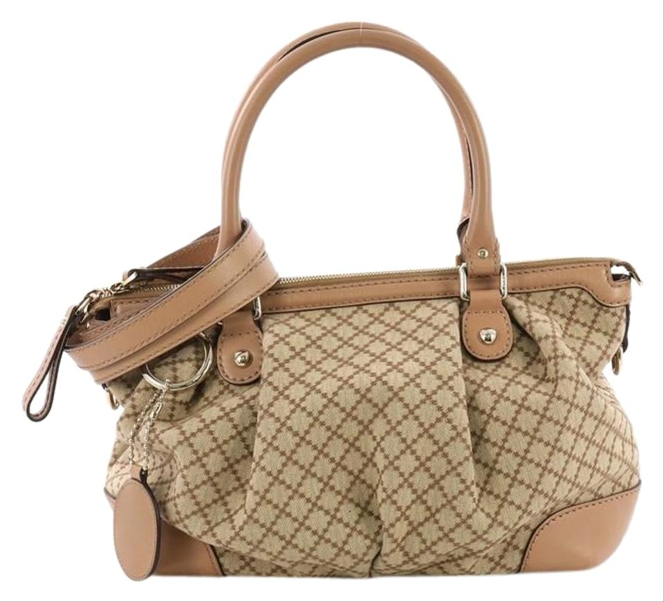 c712bf8a4fe8 Gucci Sukey Top Handle Diamante Medium Beige Canvas Satchel - Tradesy