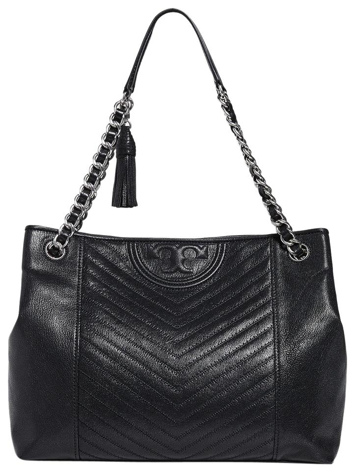 5b4b37ab4 Tory Burch Fleming Distressed Black Leather Tote - Tradesy