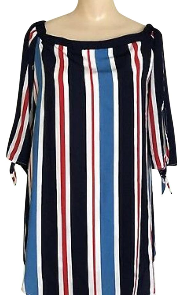 a168c23cb188db Forever 21 Multi Color Striped Off-the-shoulder Tie-sleeve Blouse ...