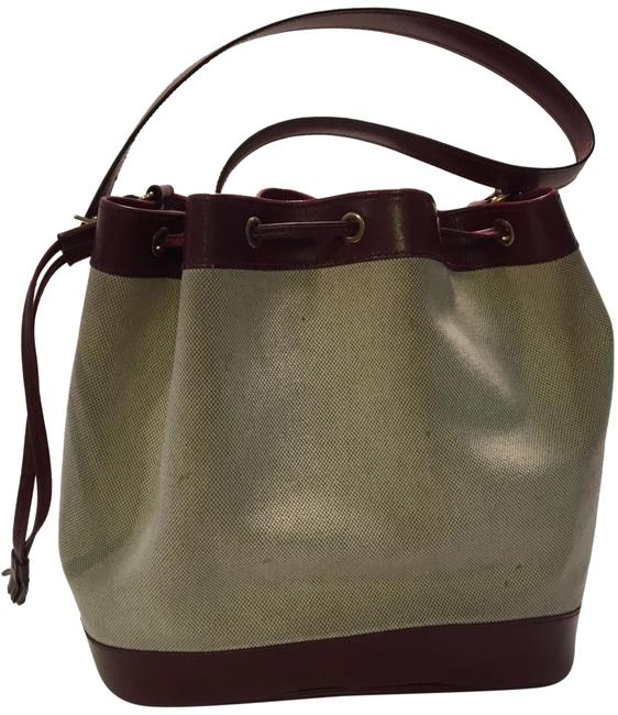 Item - Bucket Pm Drawstring Maroon and Canvas Leather Toile Hobo Bag