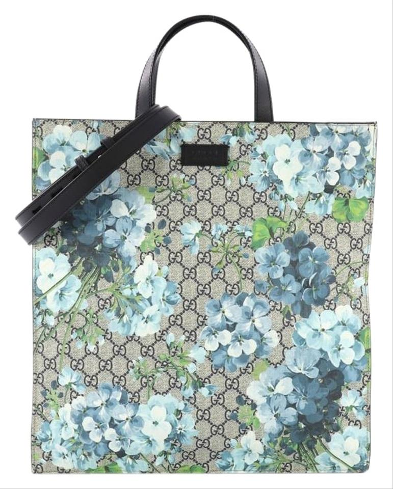 00736e4b8d3 Gucci Convertible Soft Open Blooms Print Gg Coated Tall Blue Canvas ...