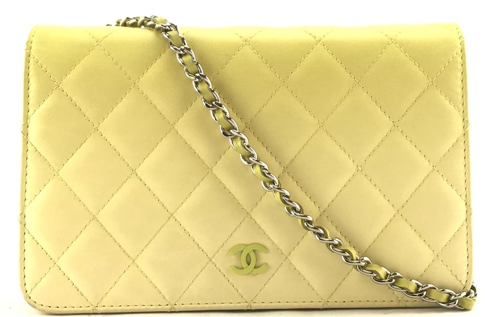 482ce6431e7550 Chanel Clutch Wallet on Chain #26928 Timeless Cc Woc Quilted Single Flap  Rare Neon Yellow Ombre Degrade Changing Color Lambskin Leather Cross Body  Bag