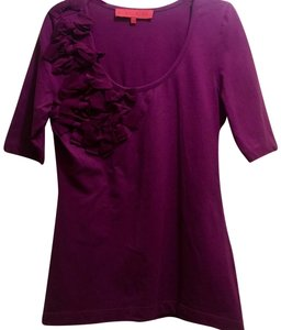 Sinclaire 10 Embellished Stretchy Bold Stripe Embroidered Bows Top Burgundy Merlot