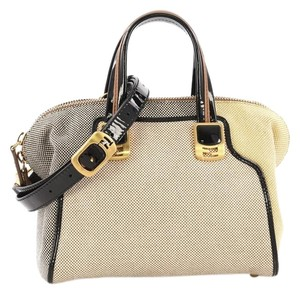 Fendi Canvas Satchel in beige and yellow with black