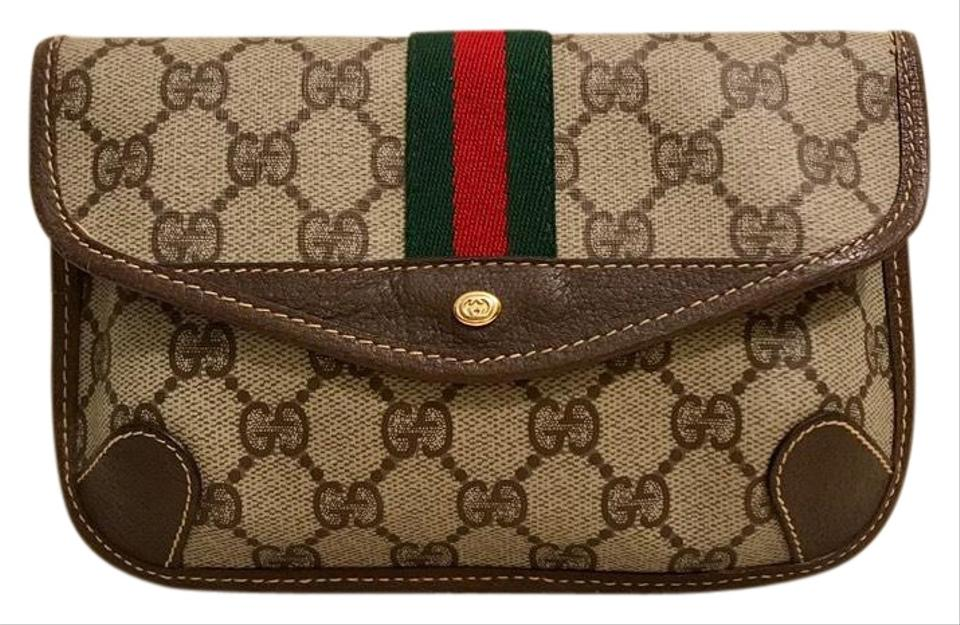 4f1cd1f7e Gucci Vintage Gg Supreme Green Stripe Wallet Pouch Brown Canvas and ...