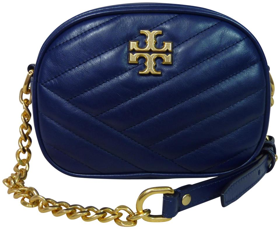 Tory Burch Kira Chevron Small Camera Navy Leather Cross Body Bag ... 48e0d8b53